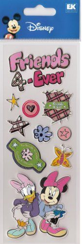 EK Success Disney Minnie and Daisy Friends 4ever Skool Craze 1 Dimensional Stickers 299 retail ** Want to know more, click on the image-affiliate link.