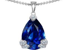 Original Star K(tm) Large 17x11mm Pear Shape Created Sapphire Designer Pendant in 925 Sterling Silver Star K$111.99  #necklace #gifts