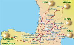 la route du Puy (Via Podensis) par Conques et Moissac, le chemin de Vézelay ou voie limousine (Via Lemovicensis) par Limoges et Périgueux et la voie de Paris ou de Tours (via Turonensis) par Bor-deaux. La voie d'Arles (via Tolosana ou via Arletanensis) passe par le Lauragais et Toulouse.