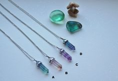 Light flourite necklace hexagonal point by FortunateFreaks on Etsy