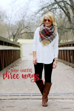 Hi Sugarplum | 1 Outfit 3 Ways One great basic outfit of leggings and a sweater, worn three different ways.