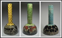Sculptural Vessels - Biology Series -  sgrafitto - cone 5/6