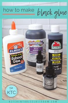 How to Make Black Glue - The Kitchen Table Classroom Glue Art, Glue Painting, Encaustic Painting, Art For Kids, Crafts For Kids, Arts And Crafts Supplies, Art Supplies, Apple Barrel, Liquid Watercolor