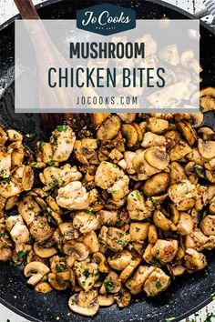 These Mushroom Chicken Bites are a wonderful, low carb, flavorful dish that will delight anyone who especially has a love of mushrooms. #mushrooms #chicken #recipe