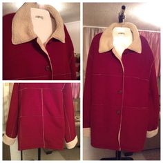 """Plus Size Coat OutBrook Winter Coat is warm and great for this time of the year. This Coat is made of 100% Polyester. The color is Red. The Size is 3X (24W/26W). Laying flat Arm to Arm is """"30. Sleeve Length unrolled """"20. Winter Coat Length from top to bottom is """"31. This item is in Good condition, Authentic and from a Smoke And Pet free home. All Offers through the offer button ONLY. I Will not negotiate Price in the comment section. Thank You OutBrook Jackets & Coats"""