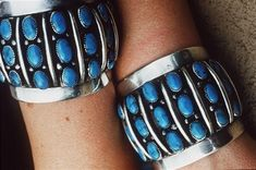 """Frank Patania Sr., c. 1955. Marked """"FP"""" with """"Thunderbird"""", Morenci turquoise cuffs."""