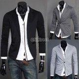 Men Slim Fit One Button Formal Black Blazers, http://www.shopcost.co.uk/