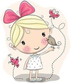 Menina e pássaros - ilustração de arte em vetor