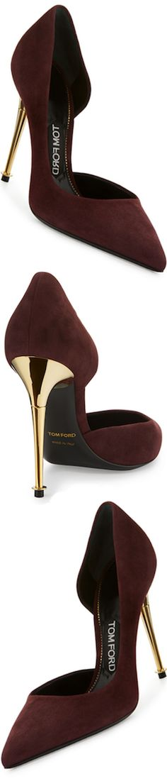 TOM FORD Golden Stack Half-d'Orsay Pump, Wine