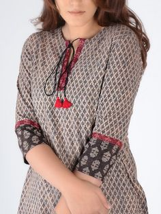 Grey-Black Block-Printed Cotton Kurta with Embroidery Printed Kurti Designs, Simple Kurti Designs, Churidar Designs, Kurta Designs Women, Neck Designs For Suits, Sleeves Designs For Dresses, Neckline Designs, Dress Neck Designs, Kurti Sleeves Design