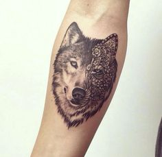 Wolf tattoo & hippie floral design