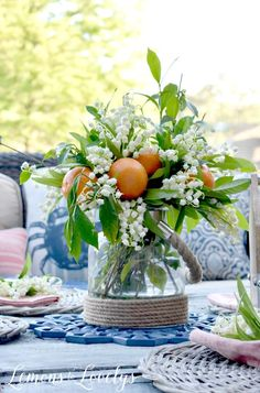 Joyful Summer Home Tour www.lemonstolovelys.com Oranges & Blossoms Floral Display