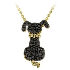 Puppy Necklace 18K Gold over Sterling Silver Black Diamond Accent Dog | The Dreamy Pineapple Company