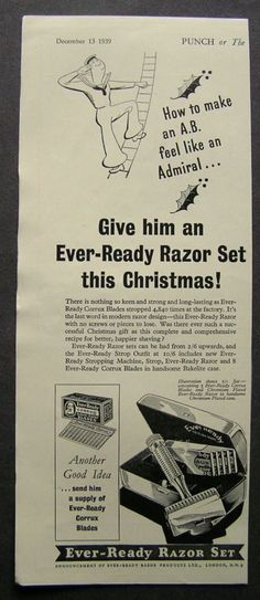 1930s WW2 advert for EVER-READY RAZOR SET Christmas advertising ephemera 1939