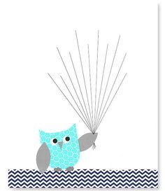 Impronta digitale Baby doccia Guest alternativo libro gufo con palloncini Thumbprint ospite Prenota grigio blu marino 8 x 10 o 11 x 14