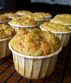 Sugar Free Pineapple Carrot Muffins  (recipe isn't 100% clean but with a few subs it can be a clean treat!)