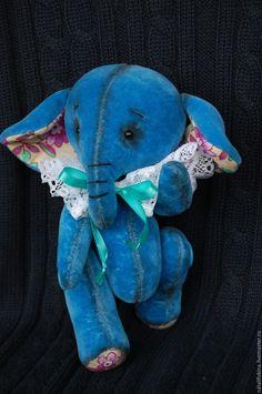 Купить слоник тедди Бимбо - синий, слоник, слоник тедди, ручная работа