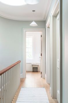 Plain English Kitchen in Brooklyn: An Old-Style Townhouse Gut Remodel by Elizabeth Roberts Architects - Flur Hall Paint Colors, Hallway Wall Colors, Hallway Colour Schemes, Hall Colour, Hallway Paint, Best Paint Colors, Room Colors, Hallway Walls, Paint Bathroom