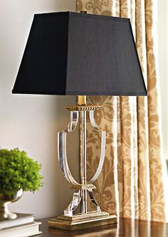 Crystal lamp with black shade. Solid crystal table lamp with antiqued solid brass trim. Crystal lamp has black rectangular hard-back shade Home Lighting, Chandelier Lighting, Bubble Chandelier, Brass Lamp, Pendant Lamps, Pendant Lights, Black Lamps, Black Table Lamps, Lamp Light