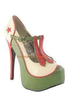 Bordello Womens Military Theme Army Green Sexy Soldier Platform Pumps Heels Shoe