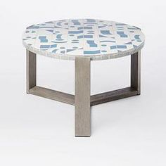 Mosaic Coffee Table Isometric Concrete Round Top Weathered Gray