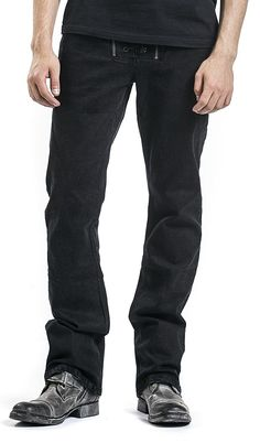 Rock Rebel by EMP Johnny Lace-Up Fly (Boot-Cut) Hose schwarz: Amazon.de: Bekleidung
