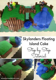 Skylanders Floating Island Cake: step by step tutorial to make a Skylanders birthday cake. Quick and easy decorating tips.