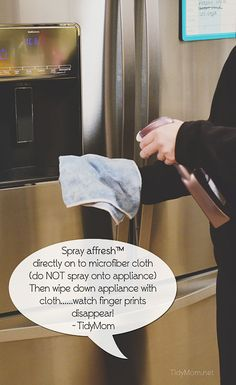 Learn how to clean stainless steel appliances and be free of smudges and fingerprints  at TidyMom.net