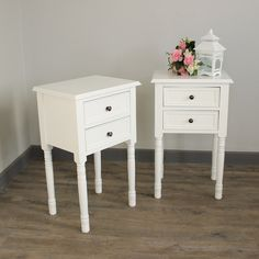 Eliza White Range - Furniture Bundle, Pair of Two Drawer Bedside Table Made from wood, with a white matt painted finish This shabby chic bedside table is complete with two small drawers & vintage brass handles Beautiful example of French Style furniture Perfect painted occasional lamp table or bedside cabinet , may other matching items available for your french country style home www.melodymaison.co.uk