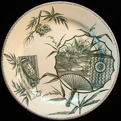 OUTSTANDING AESTHETIC GREEN TRANSFERWARE PLATE MERINA PATTERNTill and Sons PotteriesStaffordshire Englandc. 1885This large Victorian aesthetic 9 3/8