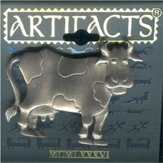 Pewter Cow Contentedly Standing Pin by JJ - Gift Boxed