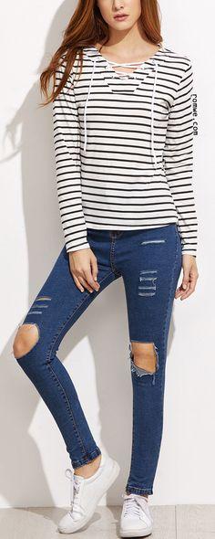 White Striped V Neck Lace Up T-shirt