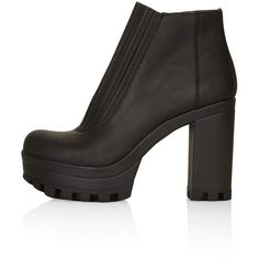 TOPSHOP HAPPY Cleated Sole Boots ($30) ❤ liked on Polyvore featuring shoes, boots, heels, black, leather shoes, leather heel boots, black heel boots, chelsea bootie and black heel shoes