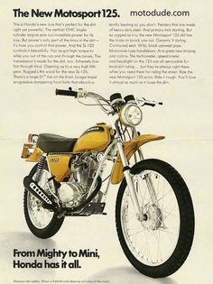 Life on two wheels. Enduro Motorcycle, Motorcycle Posters, Motorcycle Engine, Moto Bike, Honda Dirt Bike, Honda Bikes, Honda 125, Classic Honda Motorcycles, Vintage Motorcycles