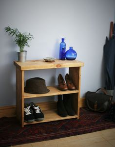 small wooden shoe bench or shoe rack x x cm in eco wood, chunky hall table style top - modern rustic handmade in Somerset UK Hallway Furniture, Wood Furniture, Modern Furniture, Furniture Ideas, Bathroom Furniture, Rustic Feel, Modern Rustic, Shoe Tidy, Low Bookshelves