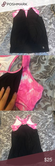 Super Cute Workout Top with Built-in Sports Bra! Super Cute Workout Top with Built-in Sports Bra! Bottom is black, sports bra is pink. Size small. MPG Tops