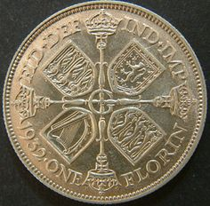 "1932 English Silver Florin of King George V.  (Florin was the name given to a type of gold coin first issued from the Republic of Florence in AD 1252. Since then, the name florin has been ""adopted"" by several other nations and used for coins of various denominations in various times.)"
