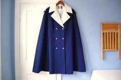 Lilli Ann Cape Vintage Navy Blue Cloak 60s Coat Military Mod Designer Outerwear. $350.00, via Etsy.
