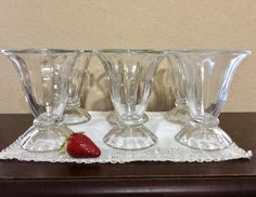 Set of 6 Vintage Ice Cream Parlor - Soda Fountain Glasses, Parfait - Sundae Cups,  Milkshake Glasses, Tulip Fluted, Libbey Footed Cups by CottonTopVintage on Etsy