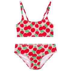 * New Summer'19 Collection *  Super cool Red and Pink bikini set with with cherry print and beads on the shoulder straps by Stella McCartney Kids. Fully lined for increased comfort and made from a sun protective fabric.  Beads on Shoulder Straps Comes with a Carrying Pouch UPF50+ Sun Protective Fabric Cherries Print Two-Piece Set Fully Lined Comfy Fabric