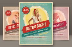 6 Retro Style Party Flyers by Peter Olexa, via Behance