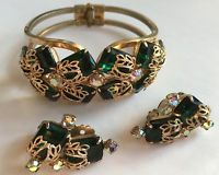 Vintage Emerald Green Rhinestone D&E Juliana Clamper Cuff Bracelet & Earrings