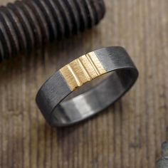 6mm Mens Eheringe Triple Stripe 14k Gelbgold & Rhodium