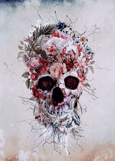 Floral Skull RPE #skull #wallart #digitalart #collage