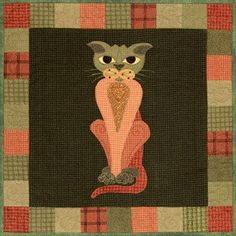 """This is block thirty two of the popular StoryQuilt series, Garden Patch Cats by Helene Knott. The quilt block finishes at 18"""" square. This pattern includes Helene's recipe for Parsnip & Carrot Gratin."""