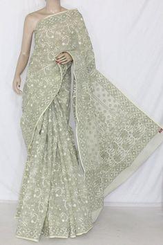 Cream Color Allover Hand Embroidered Lucknowi Chikankari Saree  (With Blouse - Cotton) 14323