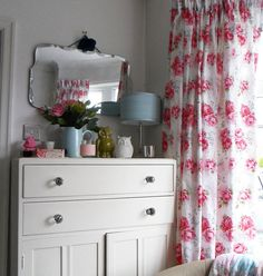 love the mirror and owls on the dresser; glass drawer pulls like mine #dresser #mirror