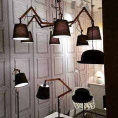 Serie de #lamparas TEO en #madera con tulipas de tela. #iluminacion #decoracion