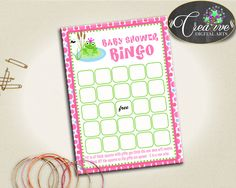 Frog Baby Shower Shower Pink Theme Check Off Squares Gift Opening Game BINGO GIFT GAME, Baby Shower Idea, Party Decorations - bsf01 #babyshowerparty #babyshowerinvites
