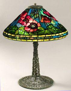 "tiffany lamps   Tiffany Studios Poppy Table Lamp on Wire Mesh Base. Diameter 17"""
